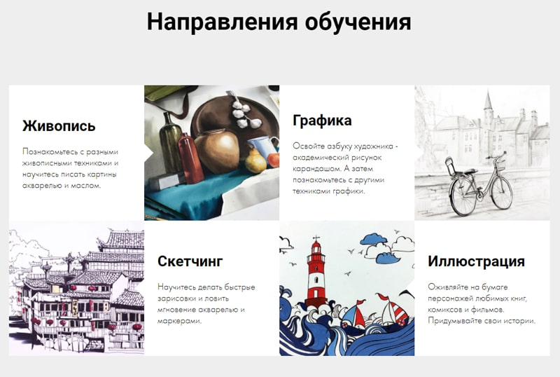 """Примеры направлений обучения в школе """"Художник Online"""""""